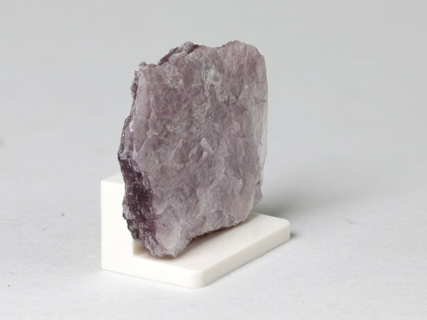 Purple lepidolite, miniature dollhouse display, 1:12 scale, side view.
