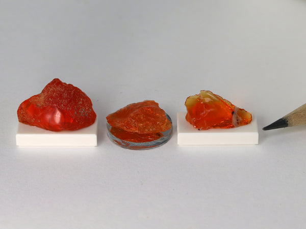 Selection of tiny red & orange fire opals for 1:12 settings