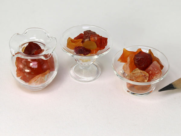 Tiny orange, red & yellow fire opal crystals in assorted 1:12 scale glass dishes