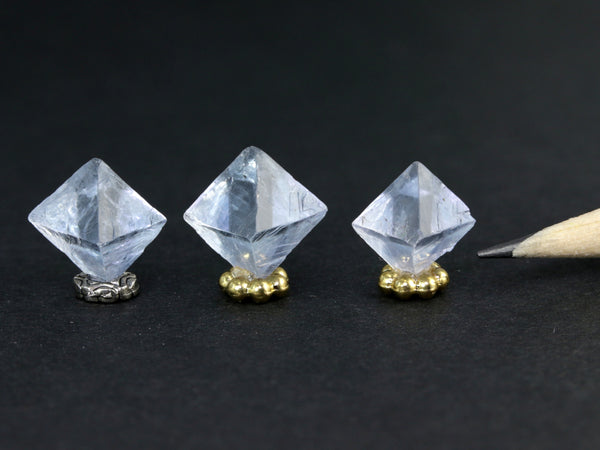 Pale blue clear fluorite octahedron crystals for dollhouse display