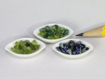 Coloured gem mixes in bowls, sold by each.