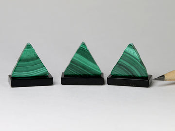 Malachite triangle sculptures