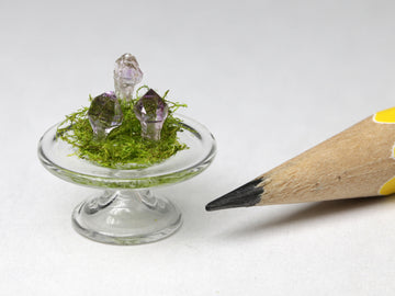 "Tiny amethyst sceptre crystal ""toadstools"" under glass, 1;24 or 1:12.  February birthstone"