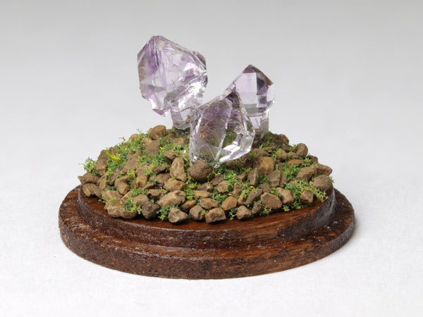 Tiny amethyst crystals, dollshouse display