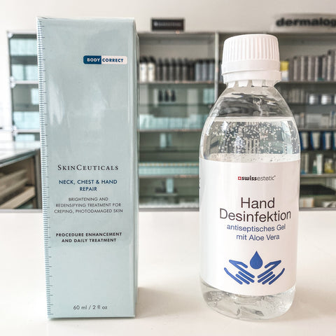 Händedesinfektionsmittel & Skinceuticals Neck, Chest & Hand Repair