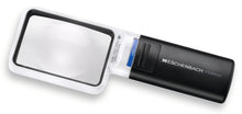 Load image into Gallery viewer, Mobilux LED, rectangular magnifier surrounded by white casing with a black handle and LED light switch.