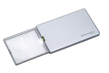 Load image into Gallery viewer, Rectangular magnifier with LED light, extended from silver casing.