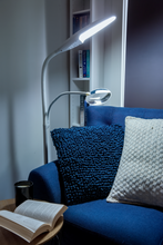 Load image into Gallery viewer, Swan floor lamp in reading nook