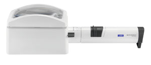 White, domed rectangular magnifier, with rectangular base and attached battery handle