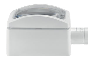 White, domed rectangular magnifier, with rectangular base