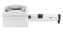 Load image into Gallery viewer, White, domed rectangular magnifier, with rectangular base and attached battery handle