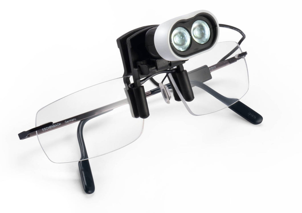 Frame (for example only) with LED light clipped on near nose-pads.