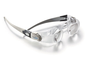 MaxDETAIL, plastic frame with double lens magnifying system and cogs for adjusting focus on temples.