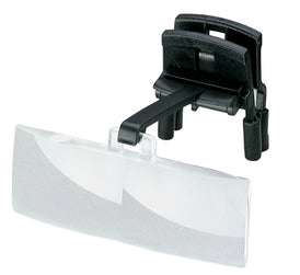 Magnifying lens with black clip and plastic arm.