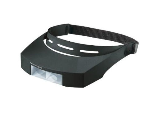 Black headband and visor (sits around top of head, over eyes) with magnifying lens at front of visor.