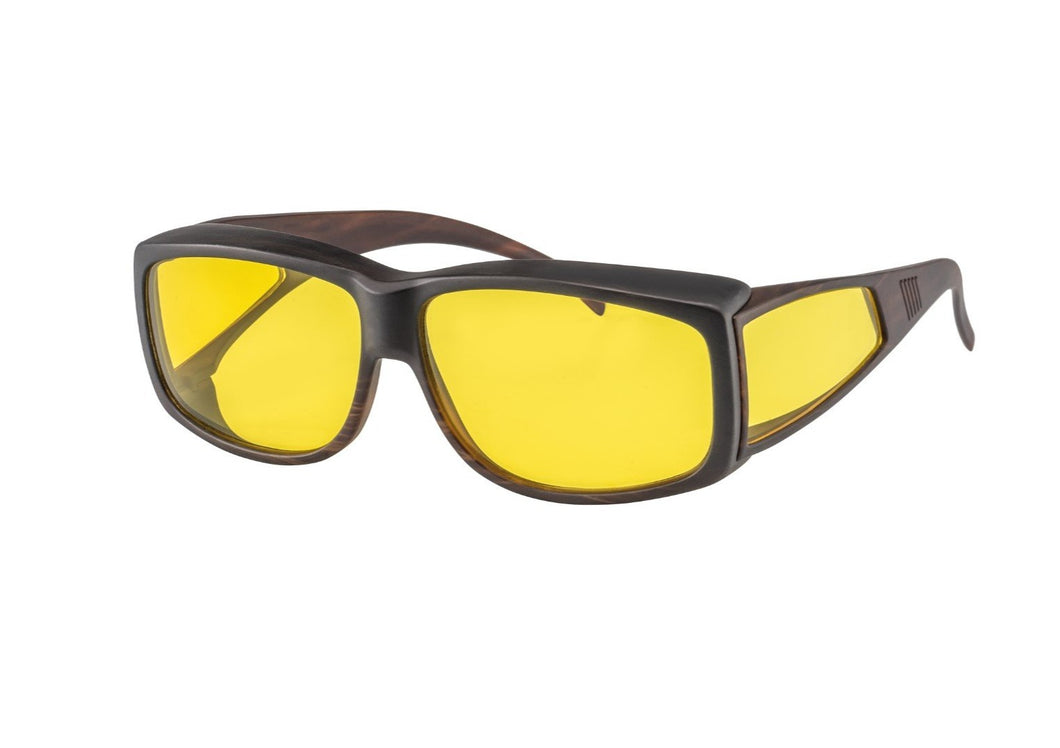 Black framed glasses with yellow filter lenses