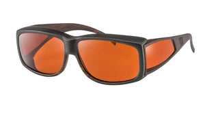 Black framed glasses with orange filter lenses