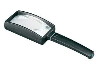 Rectangular magnifier with black casing and handle