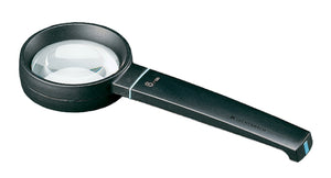 Circular magnifier with black casing and handle