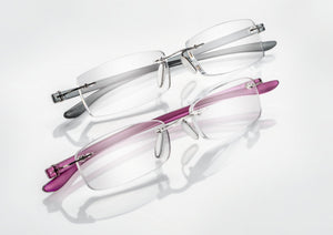 Ready readers, rectangular lens with silver or purple temples.
