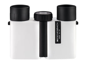 Compact binocular with sleek white coating and black eyepieces and focusing wheel.