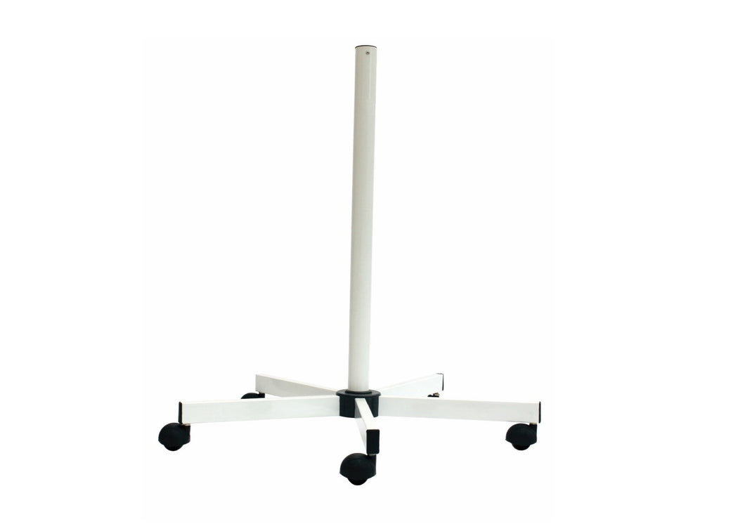 White floor-stand with black wheels, and five spokes