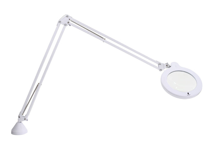 Daylight magnifying lens with LED light attached to long arm with hing and table attachment.
