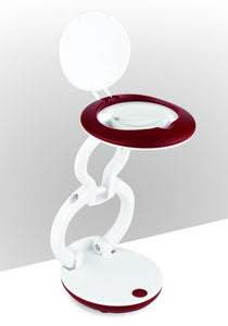 Compact and foldable LED magnifier, with red and white casing