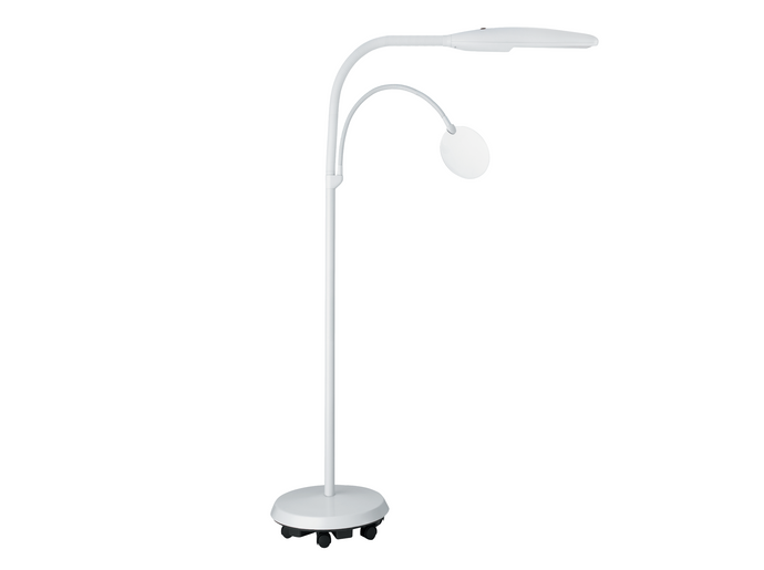 Tall, white Daylight lamp LED on adjustable arm with magnifying lens on another adjustable arm. Both fitted to a floor-standing base with wheels.