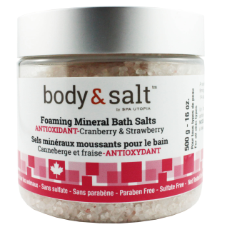 Body & Salt Foaming Mineral Bath Salts 16oz - Cranberry & Strawberry
