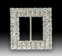 Two Row Square Diamante Buckle (Pack 10)