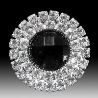 Round / 2 Row Diamante Cluster Embellishment (Black) Pkt 10