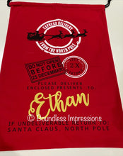 Load image into Gallery viewer, Personalised Santa Sack (Express Red) No.2