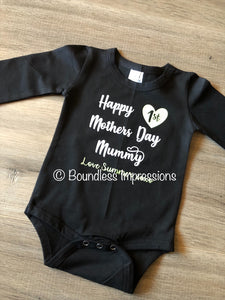 '1st Mother's Day' Long Sleeve Bodysuit