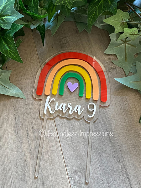 Floating Rainbow Acrylic Cake Topper
