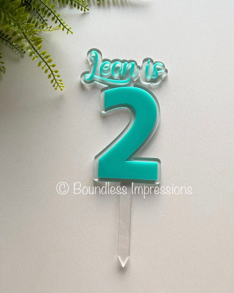 Name/Number Floating Acrylic Cake Topper