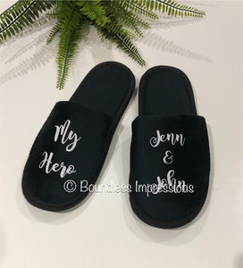 Personalised Slippers - Closed Toe (Black)