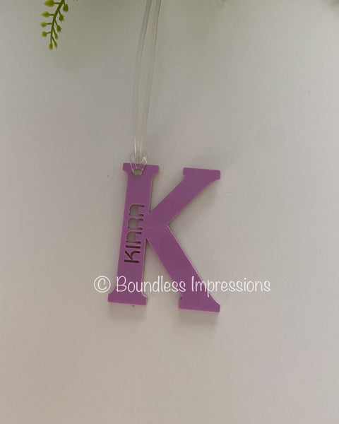 Acrylic 'Letter' Bag Tags