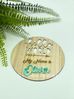 Birth Announcement Plaque - Hello World