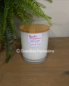 Large Frosted White Glass Jar with Bamboo Lid