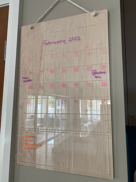 Personalised Monthly Plus Wall Planner with Timber Backing