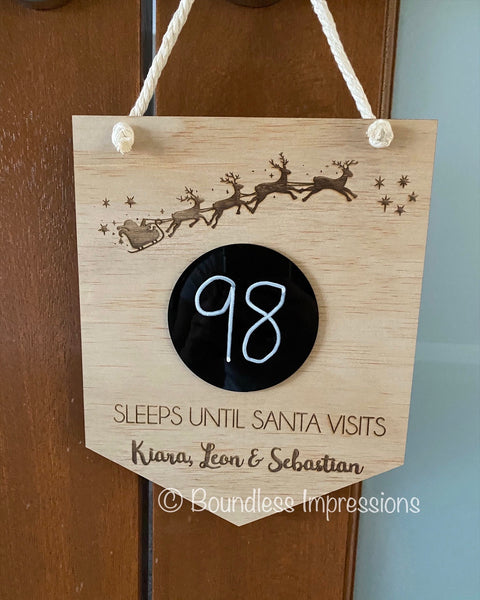 'Sleeps Until Santa Visits' Plaque