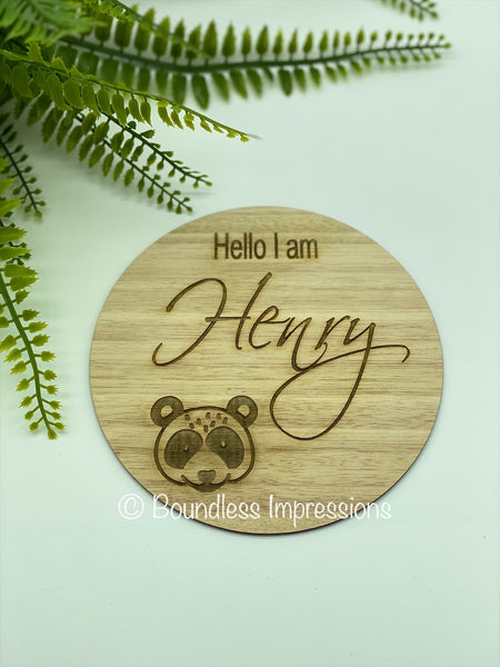 """Hello I'm"" Birth Announcement Plaque"