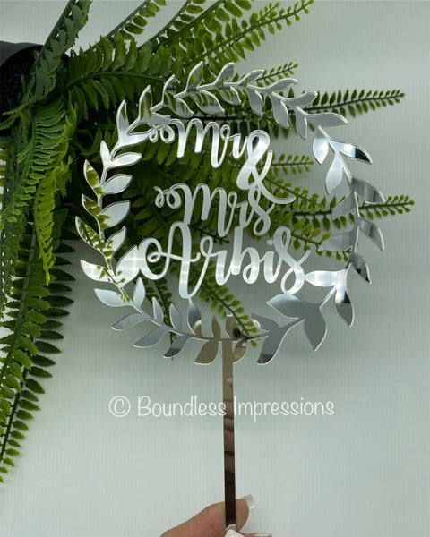 Specialty Round Vine Design - Acrylic Cake Topper