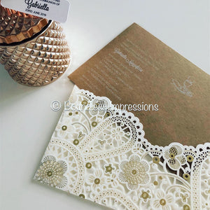 White Pocket Lace LaserCut Invitation