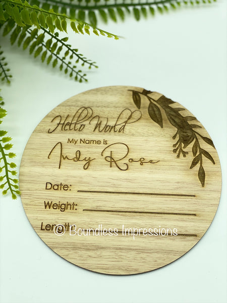 Birth Details - Birth Announcement Plaque