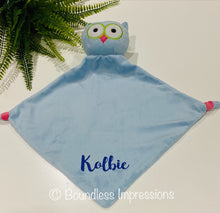 Load image into Gallery viewer, Personalised Security Blanket - Owl (Blue)
