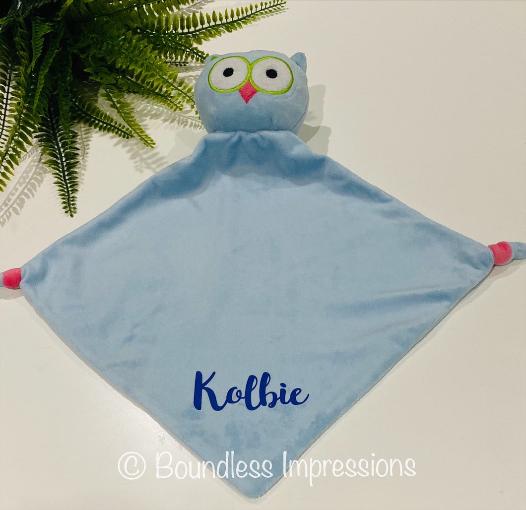 Personalised Security Blanket - Owl (Blue)