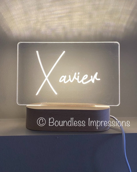 Personalised Name Night Light - Beech (White Light)