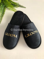 Bridal Personalised Slippers - Closed Toe (Black)